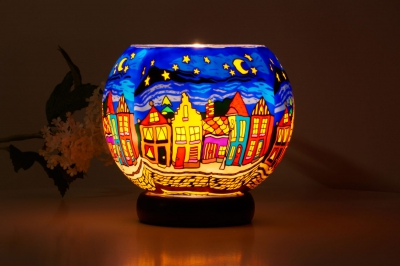 Leuchtglas Lampe 630 Street by Night Ø15cm Dekoration Teelicht Windlicht Kerzenfarm Kerze - 1