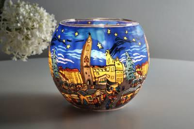 Leuchtglas 21804 Christmas Market Ø11cm Dekoration Teelicht Windlicht Kerzenfarm Kerze - 1