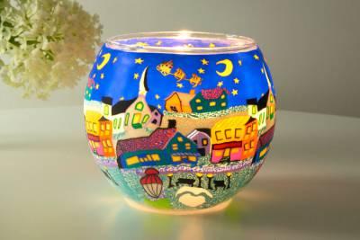 Leuchtglas 21808 Heilige Nacht Ø11cm Dekoration Teelicht Windlicht Kerzenfarm Kerze - 1
