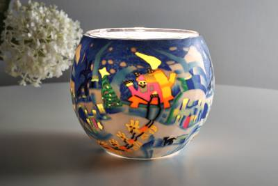 Leuchtglas 21815 Schlittenfahrt Ø11cm Dekoration Teelicht Windlicht Kerzenfarm Kerze - 1