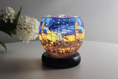 Leuchtglas Lampe 804 Christmas Market Ø11cm DekoLeuchte Windlicht Kerzenfarm - 1