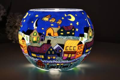 Leuchtglas 808 Heilige Nacht Ø15cm Dekoration Teelicht Windlicht Kerzenfarm Kerze