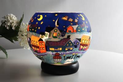 Leuchtglas Lampe 808 Heilige Nacht Ø15cm Dekoration Teelicht Windlicht Kerzenfarm Kerze - 1