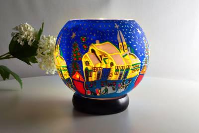 Leuchtglas Lampe 811 verschneites Dorf Ø15cm Dekoration Teelicht Windlicht Kerzenfarm Kerze - 1