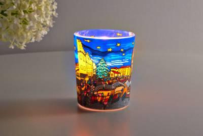 Leuchtglas für Teelicht 804 Christmas Market Ø5,8cm Teelichtleuchte Windlichthalter - 1