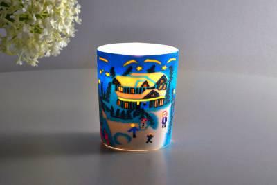 Leuchtglas für Teelicht 814 Winter Ø5,8cm Teelichtleuchte Windlichthalter - 1