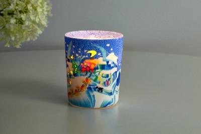 Leuchtglas für Teelicht 815 Schlittenfahrt Ø5,8cm Teelichtleuchte Windlichthalter - 1