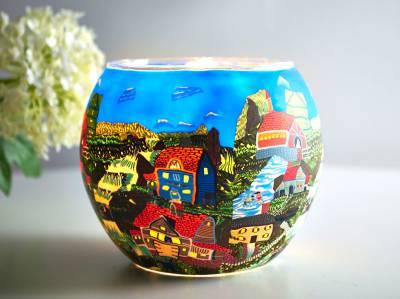 Leuchtglas 21604 American Village Ø11cm Dekoration Teelicht Windlicht Kerzenfarm Kerze - 1