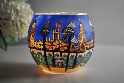 Leuchtglas 21813 London Ø11cm Dekoration Teelicht Windlicht Kerzenfarm Kerze - 1