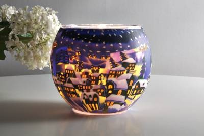 Leuchtglas 21822 Snowy Town by Night Ø11cm Dekoration Teelicht Windlicht Kerzenfarm Kerze - 1