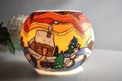 Leuchtglas 826 Snowy Cottage Ø15cm Dekoration Teelicht Windlicht Kerzenfarm Kerze - 1
