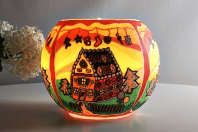 Leuchtglas 827 Lebkuchenhaus Ø15cm Dekoration Teelicht Windlicht Kerzenfarm Kerze - 1