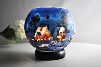Leuchtglas Lampe 821 Winternacht in Kanada Ø15cm Dekoration Teelicht Windlicht Kerzenfarm - 1
