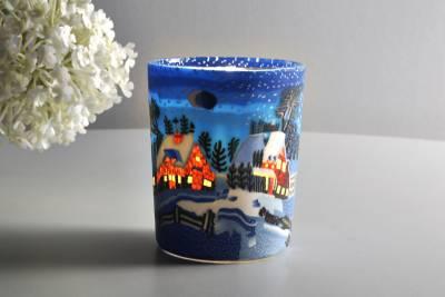 Leuchtglas für Teelicht 821 Winternight in Canada Ø5,8cm Teelichtleuchte Windlichthalter - 1