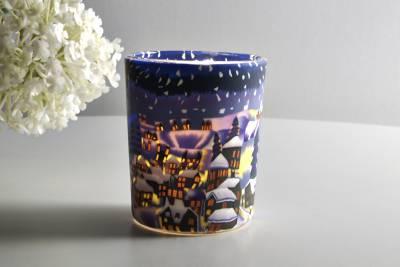 Leuchtglas für Teelicht 822 Snowy Town by Night Ø5,8cm Teelichtleuchte Windlichthalter - 1