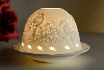 Kerzenfarm Hahn Dome Light Nr. 30001 Vögel - Teelichthalter Windlicht Dekoration Porzellanteelicht - 1