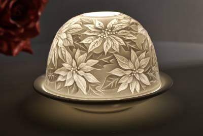 Kerzenfarm Dome Light Nr. 30003 Weihnachtsstern - Teelicht Windlicht Dekoration Porzellanteelicht - 1