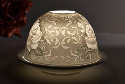 Kerzenfarm Dome-Light Nr. 30004 Rosenstrauß - Teelicht Windlicht Dekoration Porzellanteelicht - 1