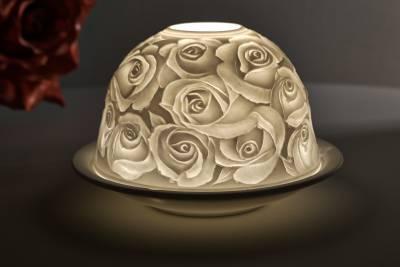 Kerzenfarm Hahn Dome Light Nr. 30005 Rosen - Teelicht Windlicht Dekoration Porzellanteelicht - 1