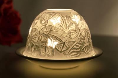 Kerzenfarm Dome Light, Nr. 30008 Schmetterlinge - Teelicht Windlicht Dekoration Porzellanteelicht - 1