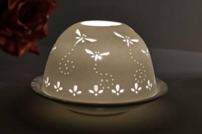 Kerzenfarm Hahn Dome Light Nr. 30010 Libellen - Teelicht Windlicht Dekoration Porzellanteelicht - 1
