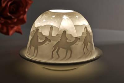 Kerzenfarm Hahn Dome Light, Nr. 30016 Krippe - Teelicht Windlicht Dekoration Porzellanteelicht - 1
