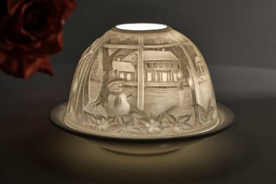Kerzenfarm Dome Light, Nr. 30018 Kaminfeuer - Teelicht Windlicht Dekoration Porzellanteelicht - 1