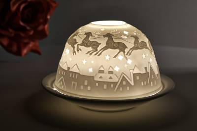 Kerzenfarm Dome Light Nr. 30031 Bescherung1 - Teelicht Windlicht Dekoration Porzellanteelicht - 1