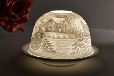 Kerzenfarm Dome Light Nr. 30033 Seidenschwanz - Teelicht Windlicht Dekoration Porzellanteelicht - 1