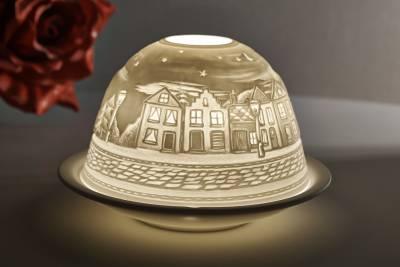 Kerzenfarm Dome Light Nr. 30034 Strasse bei Nacht - Teelicht Windlicht Dekoration Porzellanteelicht - 1