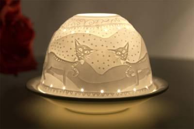 Kerzenfarm Dome Light Nr. 30041 Katzen - Teelicht Windlicht Dekoration Porzellanteelicht - 1