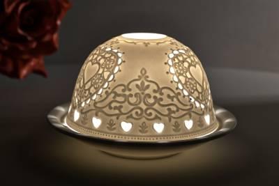 Kerzenfarm Hahn Dome Light Nr. 30043 Herzen - Teelicht Windlicht Dekoration Porzellanteelicht - 1