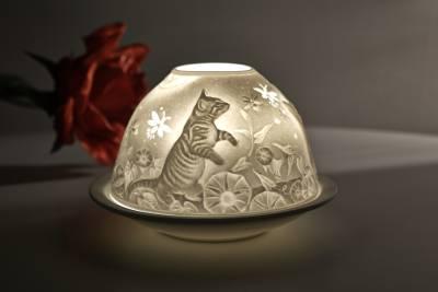 Kerzenfarm Hahn Dome-Light Nr.30049 Kätzchen - Teelicht Windlicht Dekoration Porzellanteelicht - 1