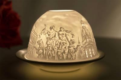 Kerzenfarm Hahn Dome-Light Nr. 30152 Dresden - Teelicht Windlicht Dekoration Porzellanteelicht - 1