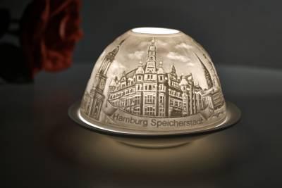 Kerzenfarm Hahn Dome-Light Nr. 30153 Hamburg - Teelicht Windlicht Dekoration Porzellanteelicht - 1