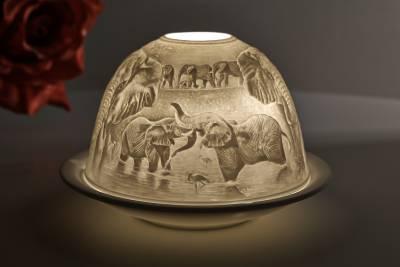 Kerzenfarm Dome-Light, Nr. 30162 Elefanten - Teelicht Windlicht Dekoration Porzellanteelicht - 1