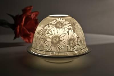 Kerzenfarm Dome Light Nr. 30166 Margeriten - Teelicht Windlicht Dekoration Porzellanteelicht - 1