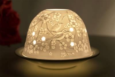 Kerzenfarm Dome Light Nr. 32001 Frühlingsboten - Teelicht Windlicht Dekoration Porzellanteelicht - 1