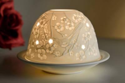 Kerzenfarm Dome Light Nr. 32001 Frühlingsboten - Teelicht Windlicht Dekoration Porzellanteelicht