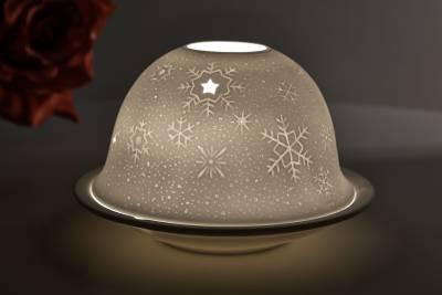Kerzenfarm Hahn Dome-Light, Nr. 32006 Schnee - Teelicht Windlicht Dekoration Porzellanteelicht - 1