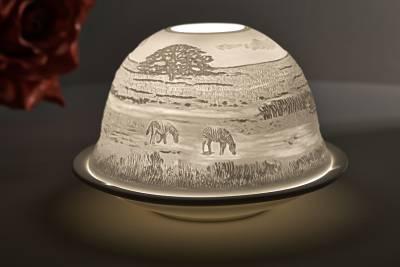Kerzenfarm Hahn Dome Light Nr. 32012 Zebras - Teelicht Windlicht Dekoration Porzellanteelicht - 1