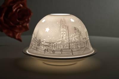 Kerzenfarm Hahn Dome Light Nr. 32014 Hamburg City - Teelicht Windlicht Dekoration Porzellanteelicht - 1