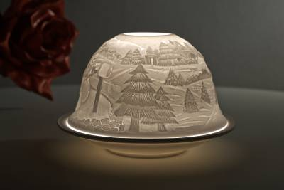 Kerzenfarm Hahn Dome Light Nr. 32015 Winter - Teelicht Windlicht Dekoration Porzellanteelicht - 1