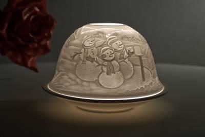 Kerzenfarm Hahn Dome Light Nr. 32015 Winter - Teelicht Windlicht Dekoration Porzellanteelicht