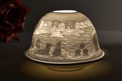 Kerzenfarm Hahn Dome Light Nr. 32017 Arktis - Teelicht Windlicht Dekoration Porzellanteelicht - 1