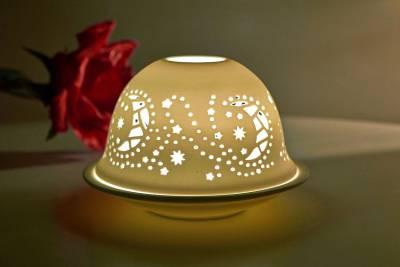 Kerzenfarm Hahn Dome Light Nr. 32019 Mond - Teelicht Windlicht Dekoration Porzellanteelicht - 1