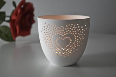 Porzellan-Becher Herz, Teelichthalter Windlicht Lichterzauber Tealight Cups - 1