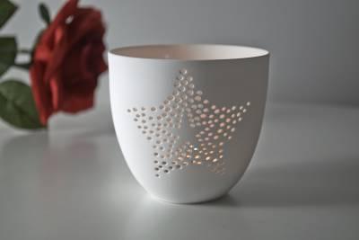 Porzellan-Becher Stern, Teelichthalter Windlicht Lichterzauber Tealight Cups - 1