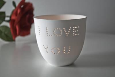 Porzellan-Becher Liebe, Teelichthalter Windlicht Lichterzauber Tealight Cups - 1