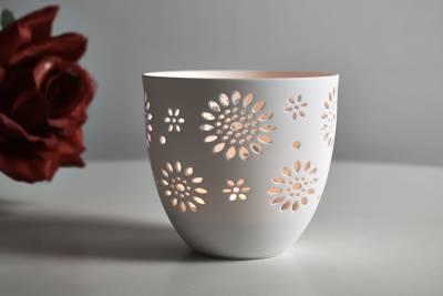 Porzellan-Becher Blumen, Teelichthalter Windlicht Lichterzauber Tealight Cups - 1